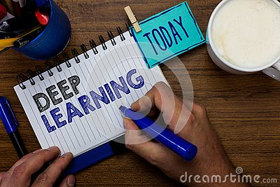 Text sign showing Deep Learning. Conceptual photo Hierarchical Abstractions Artificial Intelligence Algorithm Man holding marker n