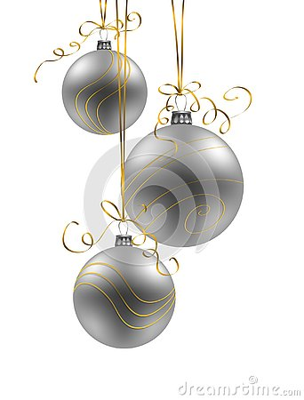 Christmas background with silver baubles on white background