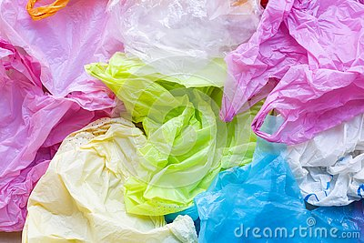 Colorful of plastic bags