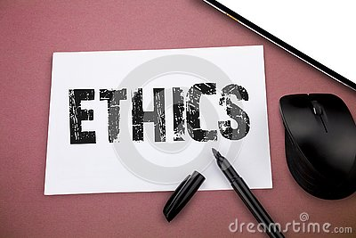 Writing note showing Ethics. Business photo showcasing moral principles that govern person behaviour or conducting