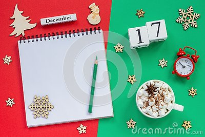 calendar December 17th cup cocoa and marshmallow, empty open notepad