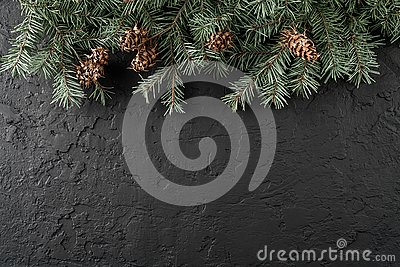 Christmas Fir branches with pine cones on dark black background. Xmas and Happy New Year card, bokeh, sparking, glowing