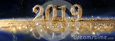 2019 in gold numbers celebrating the New Year
