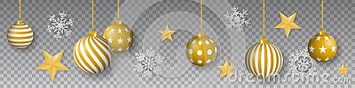Seamless winter vector with hanging gold colored decorated christmas ornaments, golden stars and snowflakes on gray background