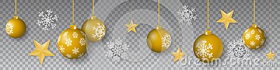 Seamless winter vector with hanging gold colored decorated christmas ornaments, stars and snowflakes on transparent background
