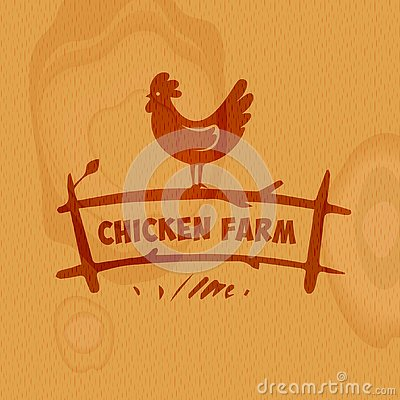 Silhouette chicken on fence. Health food store, market concept b