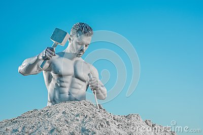 Legendary Atlas creating his perfect body from rock.