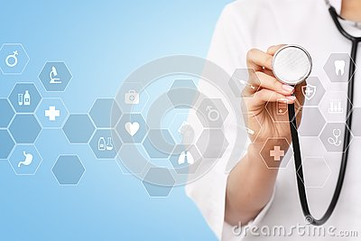 stock image of medicine technology and healthcare concept. medical doctor working with modern pc. icons on virtual screen.