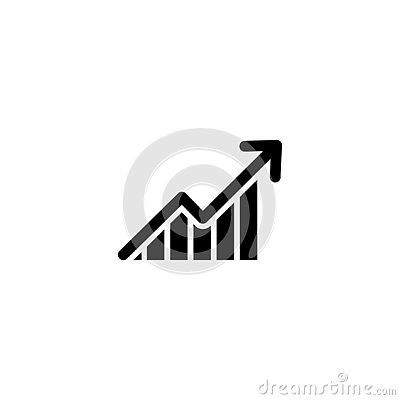 Graph with arrow going up. vector symbol
