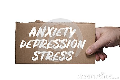 Word Anxiety, Depression and Stress written on cardboard. Clipping path