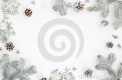 Christmas greeting card. Christmas frame border with copy space. Noel festive background. New year symbol. Fir branches