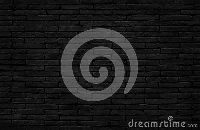 Old dark black brick wall texture with vintage style for background and design art work