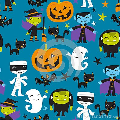 Jolly Halloween Monsters Seamless Pattern Background