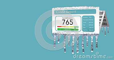A credit freeze, or freeze on your credit report is represented with icicles and snow on a mock credit report isolated on the back
