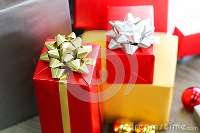Christmas gift boxes with decorations,Christmastime celebration