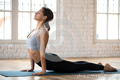 Young sporty woman practicing yoga, doing upward facing dog exer