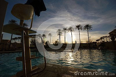 Sunset at the pool in Las Vegas