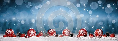 Panoramic christmas ornaments background
