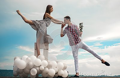 stock image of two hearts full of love. romantic relations between ballerina and ballet partner. ballet couple into love relations