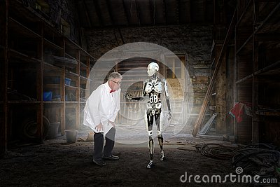 stock image of mad scientist, woman robot, science fiction