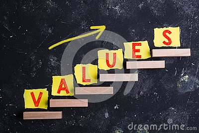 Values word on steps