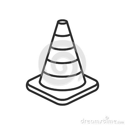 Traffic Cone Outline Flat Icon on White