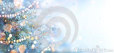 Christmas holiday tree decorated with garland lights. Border snow background