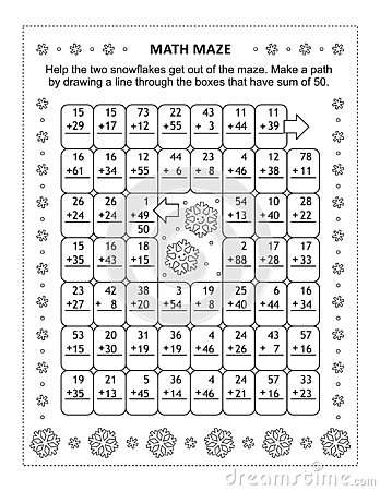 Math maze with addition facts for numbers up to 50