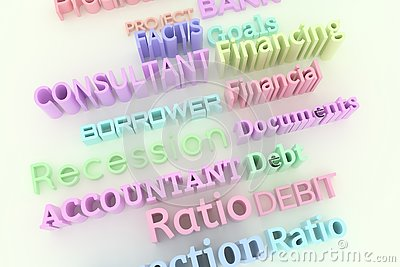 Abstract CGI typography, business related keywords. Wallpaper for graphic design. Colorful, accountant, borrower, financial.