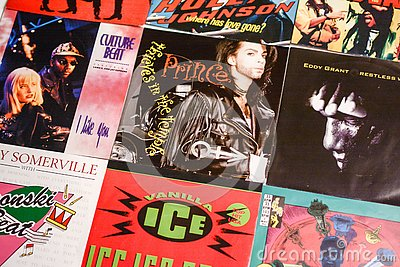 Music industry back in the 1990s 45 rpm single records