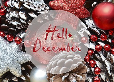 Hello December.Christmas decoration with fir tree toys and pine cones.Winter holidays concept.
