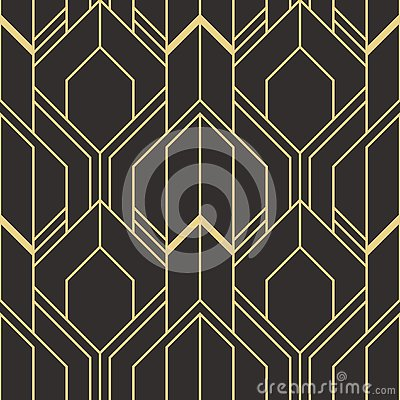 golden lined shape. Abstract art deco seamless luxury background