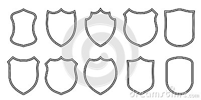 Badge patches vector outline templates. Sport club, military or heraldic shield and coat of arms blank icons