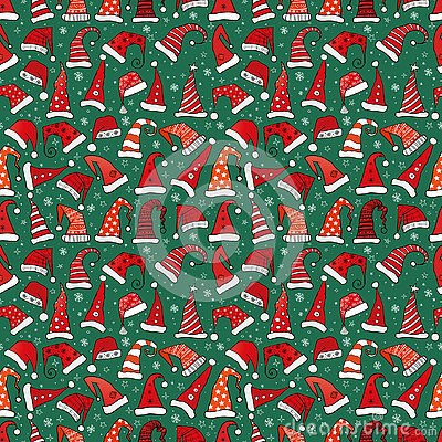 Seamless pattern with red Christmas Santa hats on dark green background. Vector illustration.