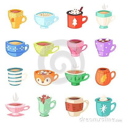 Cartoon cup vector kids mugs hot coffee or tea cupful on breakfast and various shapes of coffeecup illustration set of