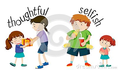 English vocabulary word thoughtful and selfish
