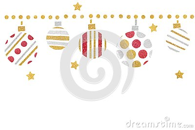 Red gold and silver glitter christmas balls paper cut on white background