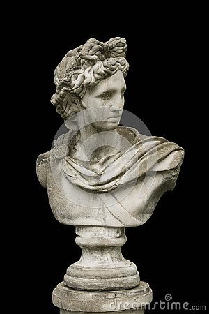 Marble head of an ancient Greek god bust isolated
