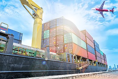 Container warehouse for delivery shipment transport, import export to global logistics concept. by boat and plane. Business
