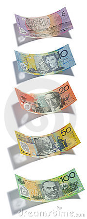 Australian Money Dollars Isolated