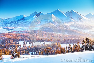 Winter mountain landscape. Clear blue sky over snowy mountain peaks in a frosty morning. Winter sunrise in the mountains.