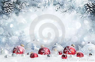 Merry Christmas - Baubles On Snow