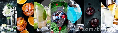 stock image of alcoholic cocktails with strong drinks, soda, berries and fruit in assortment. close-up. photo collage