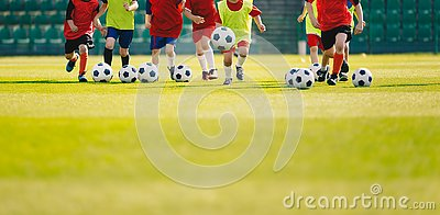 Children play soccer at grass sports field. Football training for kids. Children running and kicking soccer balls at soccer pitch
