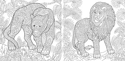 Coloring Pages. Coloring Book for adults. Colouring pictures with panther and lion. Antistress freehand sketch drawing with doodle
