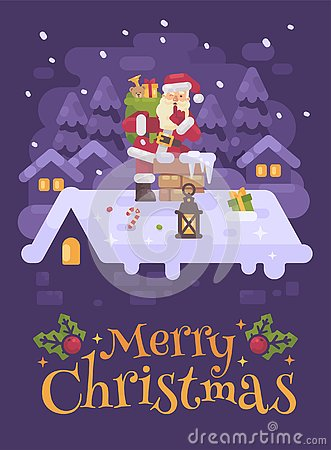 Cheerful Santa Claus on a roof climbing into the chimney with a bag full of presents on Christmas night. Purple winter flat