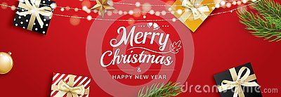 Christmas greeting card with gift boxes on red background. Use for posters, cover, banner
