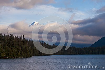 Mount Hood shrouded in low clouds at Lost Lake in Oregon