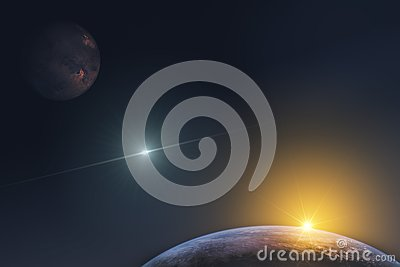 stock image of fantastic representation of the planets in the infinite space of the universe and the rays of the rising sun. elements of this ima