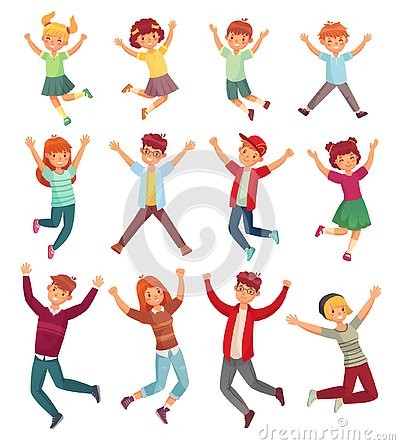 Jumping kids. Excited childrens jump, happy jumped teenagers and smiling child jumps cartoon vector illustration set